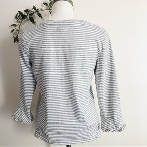 GAP Tops - GAP Gray and White Stripes Blouse
